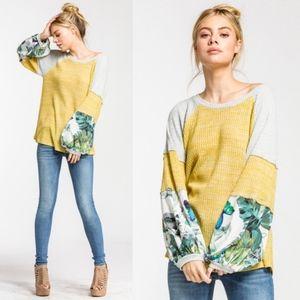 MARI Floral Sleeve Color Block Top